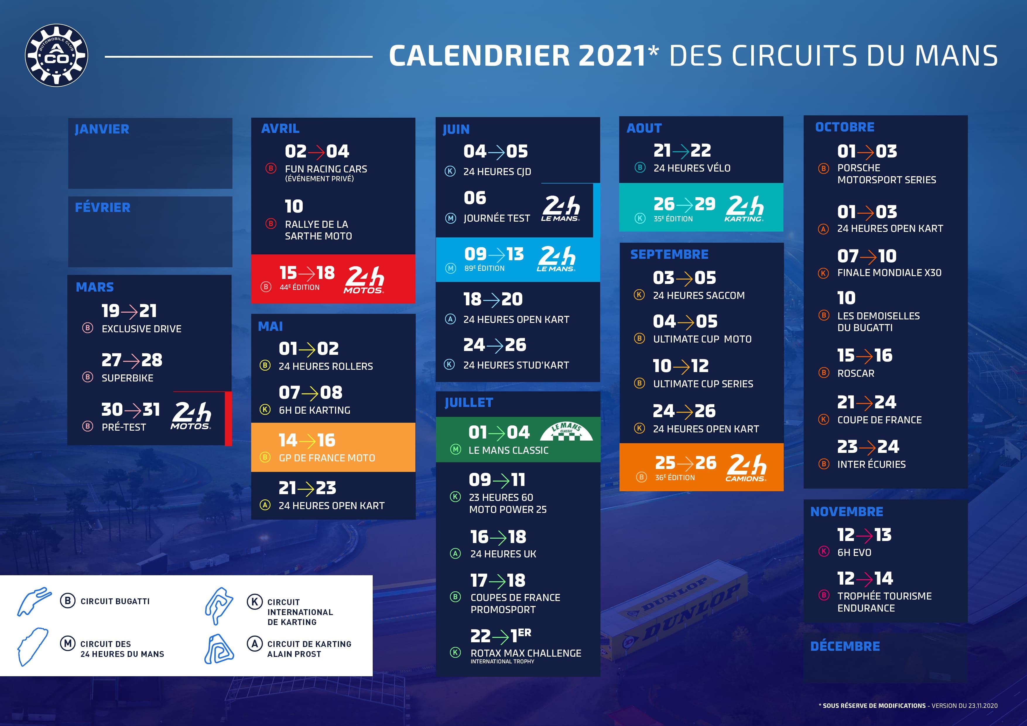 Le calendrier 2021 des Circuits du Mans est dévoilé ! | ACO   Automobi