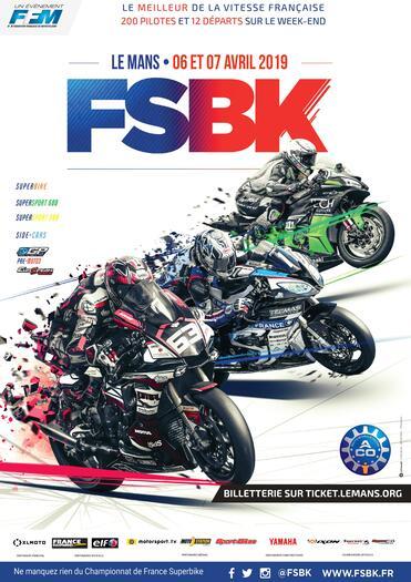 Affiche Championnat de France Superbike - Le Mans - 06 au 07 avril 2019