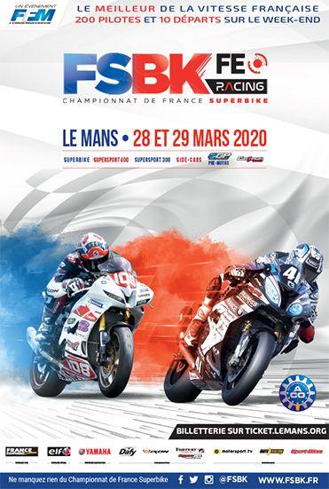 Affiche Championnat de France Superbike - Le Mans - 28 au 29 mars 2020